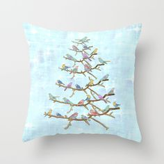 Christmas Birds Throw Pillow