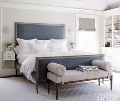 Blue white transitional bedroom