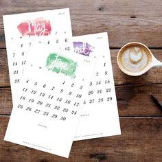Calendar: 2017 Printable Watercolor Desk Calendar + shop radiantrumble.com