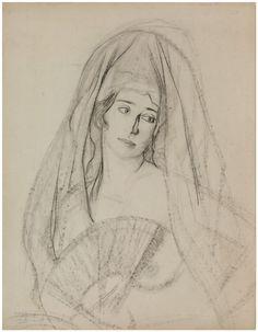 Ignacio Zuloaga Retrato con mantilla- Museo de Dibujo Julio Gavín