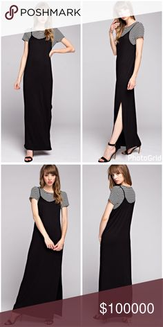 Easy style jersey tee shirt dress! PREORDER Classic black and white top tank dress style in jersey knit with a side slit! Dresses Maxi