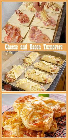 Want to recreate Greggs Bakery Cheese and Bacon Wraps? Give our Flawless Cheese and Bacon Turnovers recipe a go, the perfect Breakfast, Lunch, Snack, or even served up with beans and chips for dinner Bacon Breakfast, Breakfast Pastries, Perfect Breakfast, Breakfast Recipes, Breakfast Appetizers, Breakfast Wraps, Pastry Recipes, Cooking Recipes, Turnover Recipes