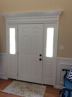 new Ideas front door trim ideas moldings wainscoting Front Door Molding, Front Door Trims, Best Front Doors, Front Door Entrance, Front Door Design, Door Header, Moldings And Trim, Crown Moldings, Window Molding Trim