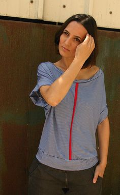 under 50, NEW COLOR Open back strips T-shirt in blue choose your color on Etsy, $39.00