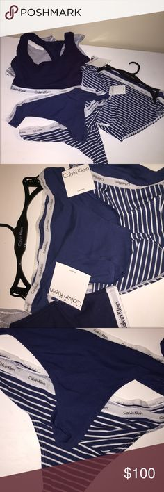 ⚡️HOST PICK! ⚡️ Calvin Klein Bundle SIZE M   2 Bralettes (1 BLUE/WHITE Millenial Stripe, 1 SOLID NAVY)  -modern cotton bralette features an elasticized logo band and racerback straps.  2 Thongs (1 AIRFORCE WIDER STRIPE, 1 SOLID NAVY)  -logo cotton thong features an elasticized waistband and cotton gusset  2 Cotton Bikini (1 AIRFORCE WIDER STRIPE, 1 SOLID NAVY)  -logo cotton soft bikini featuring an elasticized logo waistband and full cotton gusset Calvin Klein Intimates & Sleepwear