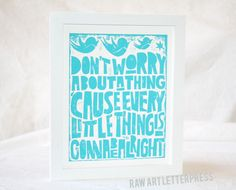 Bob Marley Wall Art, Music Typography Poster Rasta Nursery Art Print, Dont Worry, Three little Birds. $20.00, via Etsy.