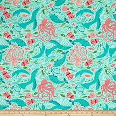 Moda Coral Queen Of The Sea Underwater Zoo Aqua from @fabricdotcom  Designed by Stacy Iest Hsu for Moda, this whimsical cotton print collection will transport you to the depths of the sea with mermaids, whales, narwhals, and  sea creatures galore! Colors include mint/aqua, teal, coral, green, and white.