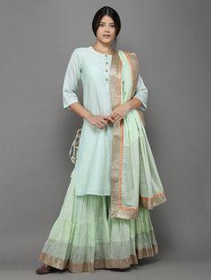 Mint Green Sharara Set with Dupatta - Set of 3