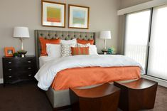white beddings designs big windows table lamp pillows white orange contemporary bedroom of Dazzling White Beddings Designs with Coloured Sheets