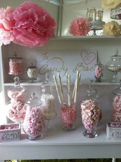 The candy bar for girls party.