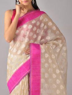 Ecru-Pink Kora Silk Saree  Bespoke Banaras