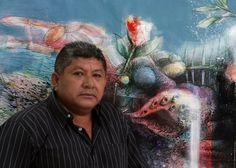 """Artista Jesus Ovalles, con una de sus obras """"Naturaleza muerta"""", artista de la galeria  de Arte Bahia Redonda, en el Venezuela, estado Anzoátegui."""