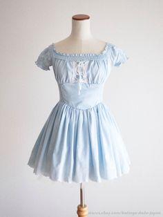 LIZ LISA TRALALA Embroidery Off-shoulder OP Dress Lace-up Lolita Kawaii Japan #LIZLISATralala #Peplum #Shibuya109Lolitafashion