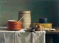 Still life with spanish loaf Henk Helmantel 122.0 x 165.0 cm - Oil on panel - 1994