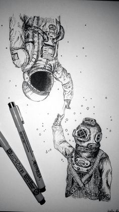 Underwater and Space, such a cool and beautiful art piece Art Et Design, Creation Art, Desenho Tattoo, Pen Art, Cool Drawings, Space Drawings, Space Artwork, Pencil Drawings, Art Inspo