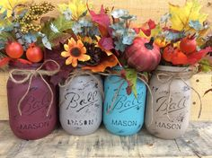 Painted Mason Jars. Fall Vases. Fall Decor. Rustic Decor. Home Decor. Thanksgiving Decor. Fall Wedding Centerpieces. Holiday Decor. by WineCountryAccents on Etsy