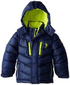 U.S. Polo Association Little Boys' Color Block Hooded Puffer Jacket, Navy, 5/6