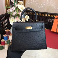 Hermes Original Ostrich Leather Kelly 25cm/28cm Black Hermes Kelly 25, Designer Purses, Bag Sale, Purses And Bags, Handbags, The Originals, Leather, Life, Black