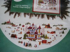 "Christmas Counted Cross Stitch Tree Skirt KIT,YULETIDE VILLAGE,Wysocki,Size 46"" #Dimensions"
