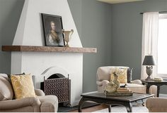 Grey walls combined with whites & yellows makes for a moody, elegant space. Colors: Honey Frost, White on White & Greycliffe. Find more ways to use this palette from @MakelyHome via MyColortopia.com