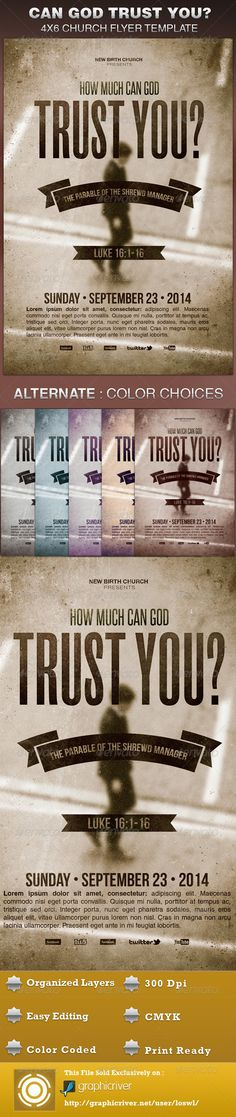 The How Much Can God Trust You Church Flyer Template is great for any Church Event. Use it for Ministries, Pageants and Sermons, etc. The layered Photoshop files are color coded and organized in folders for easy editing. The file also contains 6 – One Click Color options. $6.00