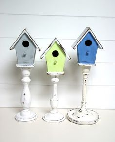 DIY Pedestal Birdhouses. EASY: everything at craft shop. Paint any color you wish... distress. More info here.