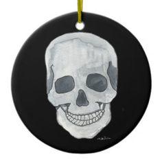 Grey Skull Circular Ornament from Original Watercolor Painting by MBrothertonArt on Etsy