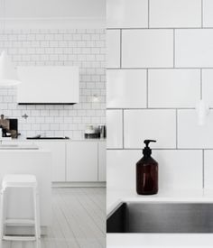 A white tiled kitchen simply accented with white furniture.   Photo by Pia Ulin.