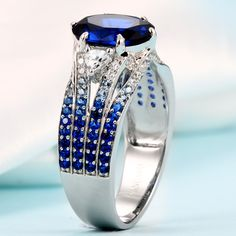 Blue Sapphire Women's Engagement Ring in Gradient Design for Valentines Gift