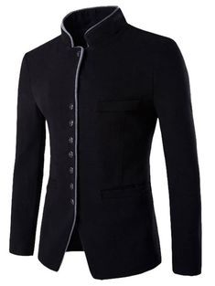 Stand Collar Single-Breasted Slimming Wool Blazer - - Cheap Fashion online retailer providing customers trendy and stylish clothing including different categories such as dresses, tops, swimwear. Mens Fashion Suits, Mens Suits, Stylish Outfits, Fashion Outfits, Cheap Fashion, Stylish Clothes, Fashion Clothes, Women's Fashion, Fashion Trends