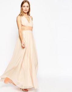 Image 4 ofASOS WEDDING Hollywood Contrast Maxi Dress