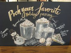 Lettering and imagery created for the Starbucks chalkboard signs, based on seasonal lay-outs and menus outlined by the company.