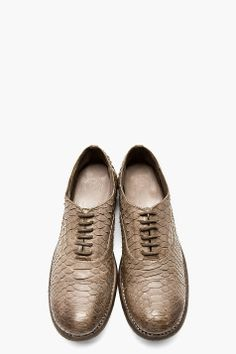 CHRISTIAN PEAU Grey Python Etched Leather Saddle Shoes