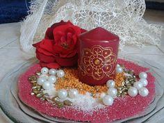 CANDELA BORDO con decorazione color ORO e di scintilledicolore