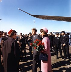 22 November 1963 President and Mrs. Kennedy arrive at Love Field, Dallas, Texas.