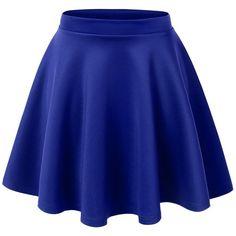 MBJ Womens Basic Versatile Stretchy Flared Skater Skirt (79 HRK) ❤ liked on Polyvore featuring skirts, bottoms, saias, blue, blue skirt, blue circle skirt, circle skirt, flare skirt and flared hem skirt