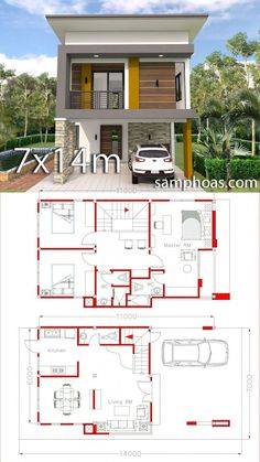 Small Home Design Plan with 3 Bedrooms - SamPhoas Plansearch Small Home Design Plan with 3 Bedrooms. This villa is modeling by SAM-ARCHITECT With 2 stories level. It's has 3 bedrooms.Simple Home Design 2 Storey House Design, Duplex House Design, Simple House Design, House Front Design, Modern House Design, Small Home Design, Model House Plan, Dream House Plans, Small House Plans
