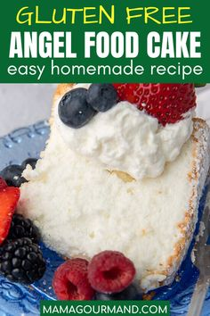 Easy Gluten Free Angel Food Cake is a light, airy dessert no one will suspect is gluten free! Enjoy the best, homemade sponge cake without having to use a mix or complicated recipe. #angelfoodcake #glutenfree #recipe #easy #best #perfect Gluten Free Angel Food Cake, Best Gluten Free Desserts, Easy No Bake Desserts, Gluten Free Baking, Gluten Free Sponge Cake, Cookie Desserts, Delicious Desserts, Yummy Food, Homemade Cake Recipes