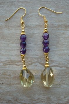 Amethyst and Citrine Dangle gemstone earrings created with Faceted citrine tear drop stones accented with faceted amethyst round beads. Ear wires are vermeil Amethyst Earrings Handmade Earrngs February Birthstone November Birthstone Amethyst Earrings, Pearl Stud Earrings, Women's Earrings, Do It Yourself Decoration, Homemade Jewelry, Beautiful Earrings, Earrings Handmade, Wedding Jewelry, Jewelery