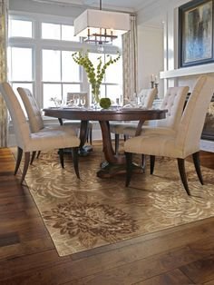 "Looking for the perfect rug to ground your dining room?  Try area rug ""Vintage Bloom"" by Shaw Floors"