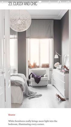 White furniture really brings more light into the bedroom, illuminating every corner.