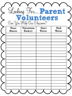 Parent Volunteer Sign Up Sheet | Parent volunteers, Parents and School