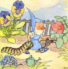 Garden Gnome w Caterpillar and Snail Greeting Card Repro Ida Bohatta Morpurgo