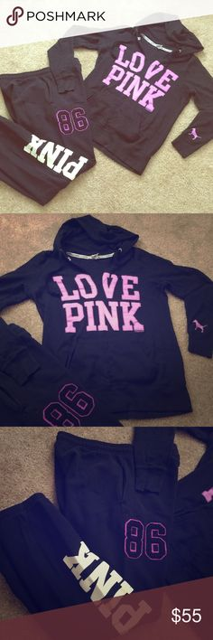 VSPink Hooded Crew Top & Lounge Bottoms Set Victoria Secret Crew top; v-neck w/ hood, and VS classic Lounge bottoms. In great condition; super comfy. 🖤💜🖤💜  Feel free to inquire on purchasing each item separately. Offers accepted😊 PINK Victoria's Secret Other