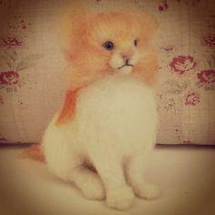 Needle Felted Cat Kitten Orange & White by MrsPlopsShoppe on Etsy