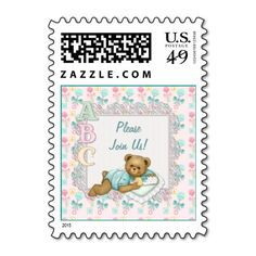 ABC Teddy Bear Baby - Customize Text Postage Stamps
