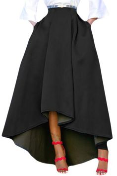 Acelitt Women Casual Asymmetric High-Low High Waist Pleated Hem Maxi Prom Skirt Black X-Large Long Maxi Skirts, Pleated Midi Skirt, Cute Skirts, A Line Skirts, Evening Skirts, High Low Skirt, High Waisted Skirt, Waist Skirt, Plus Size Skirts