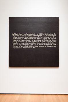 "Joseph Kosuth's Titled (Art as Idea as Idea). The Word ""Definition,"" (1966- 1968)"