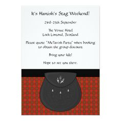 Scottish Kilt and Sporran Stag Weekend Party Card