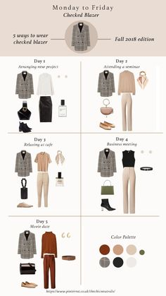 5 ways of styling checked blazer for fall Fall outfits for women Fall fashion trend items. 5 ways of styling checked blazer for fall Fall outfits for women Fall fashion trend items. Capsule Wardrobe Work, Capsule Outfits, Fashion Capsule, Mode Outfits, Fashion Outfits, Fashion Tips, Fashion Beauty, Fashion Clothes, Wardrobe Ideas